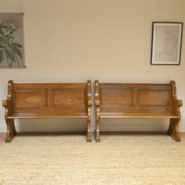 Unusual Pair of Victorian Solid Oak Antique Benches / Pews