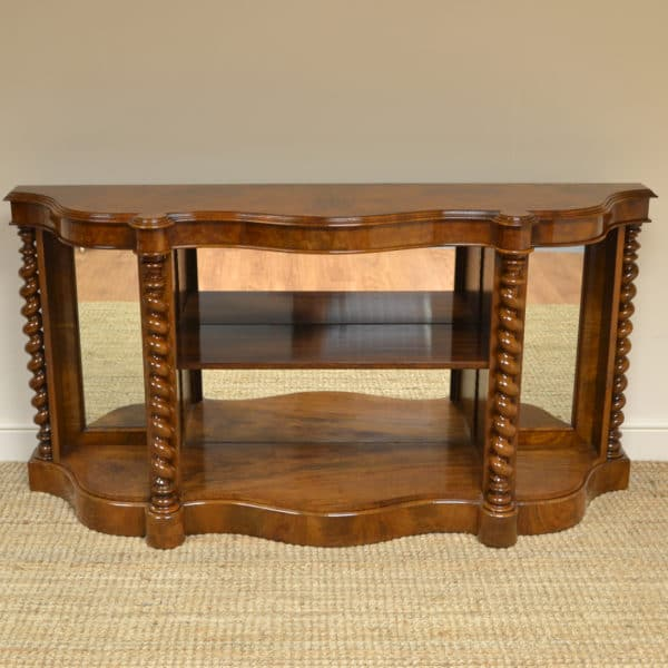 Spectacular Figured Walnut Victorian Display Bookcase / Credenza