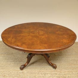 Victorian Figured Walnut Inlaid Oval Antique Table