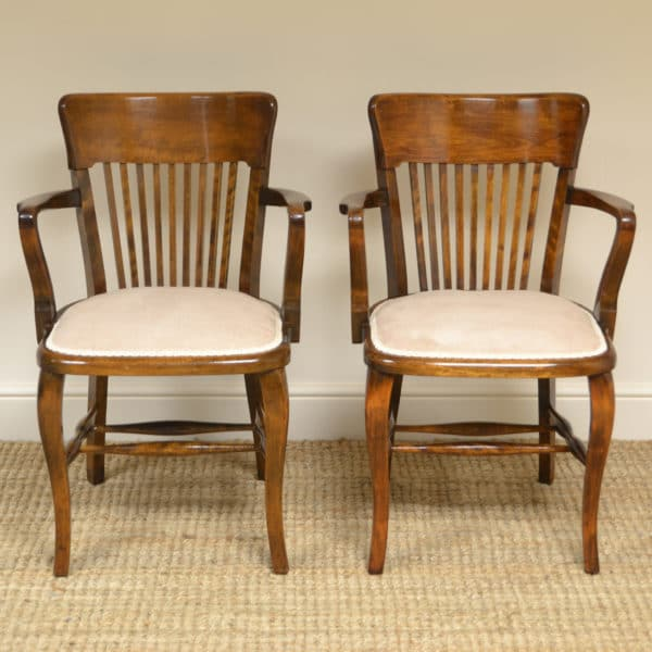 Pair of Edwardian Walnut Antique Office Chairs