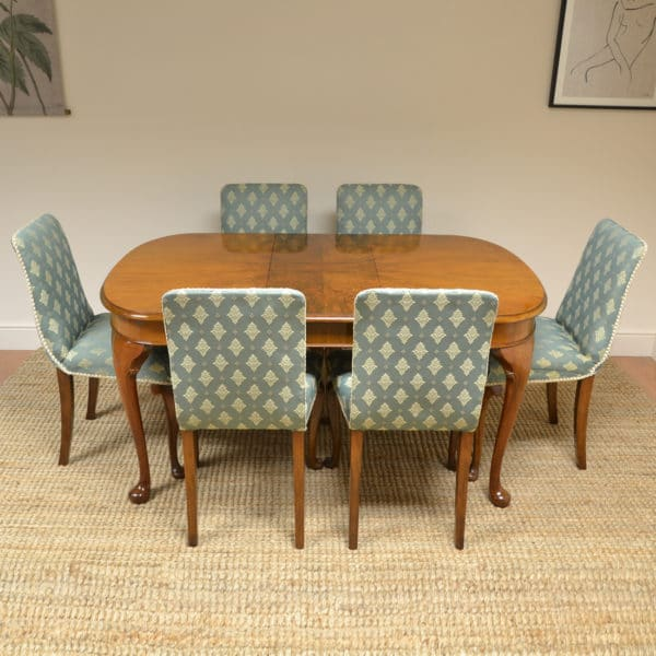 Stylish Art Deco Figured Walnut Antique Table and Six Chairs