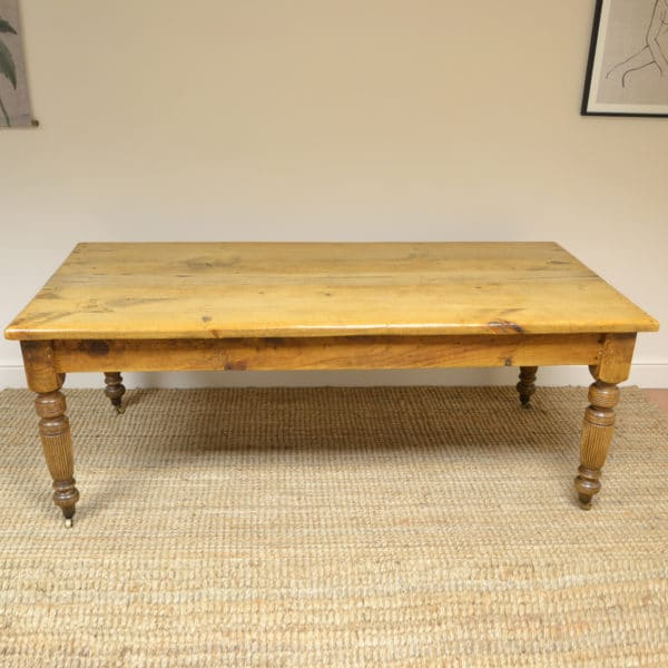 Large Victorian Pine Country Farm House Antique Kitchen Table