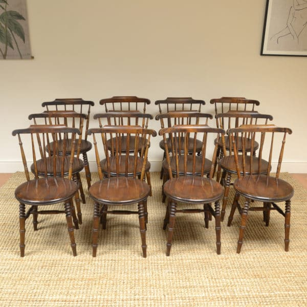 Unusual Twelve Country House Ibex Penny Windsor Antique Kitchen Chairs
