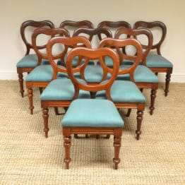 Quality Set of Ten Victorian Mahogany Antique Balloon Back Chairs