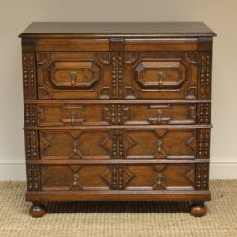 17th century Period Oak Geometric Antique Chest of Drawers