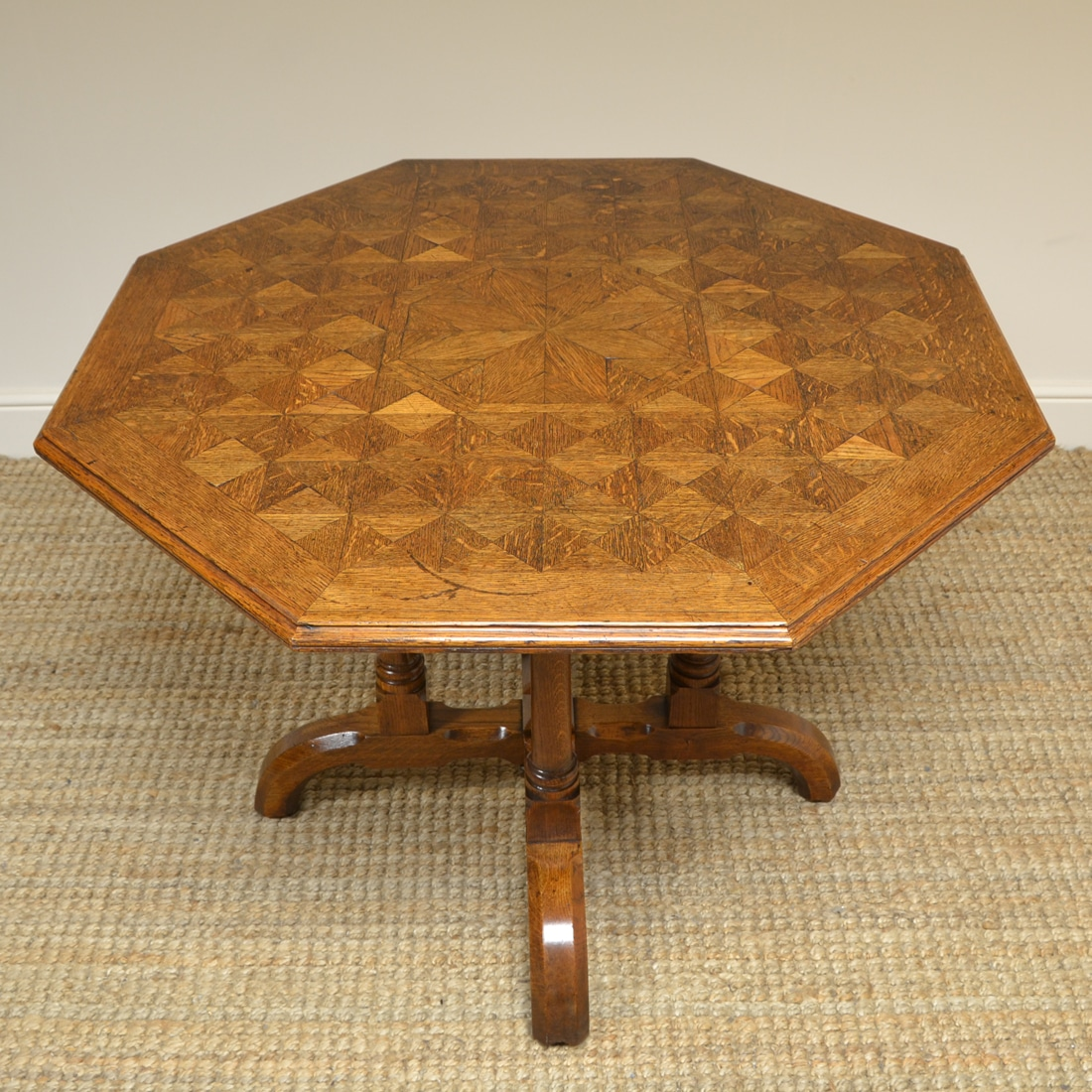 Victorian Arts & Crafts Parquetry Oak Antique Centre Table by James Shoolbred