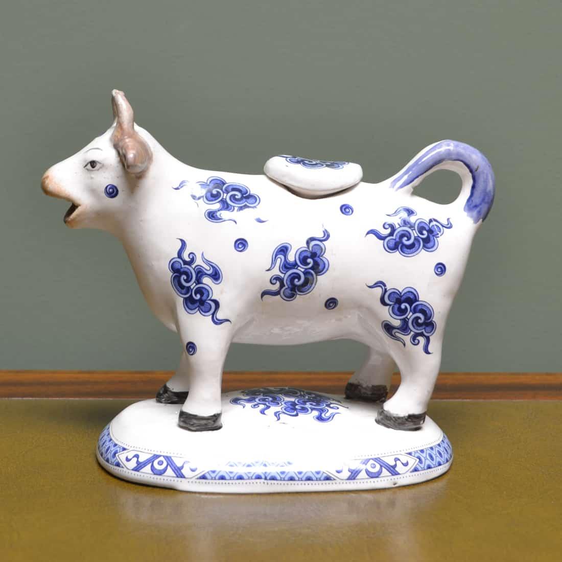 19th Century Blue & White Victorian Staffordshire Pottery Cow Creamer