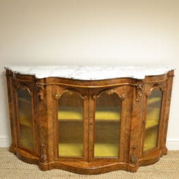 Spectacular Burr Walnut Serpentine Antique Credenza