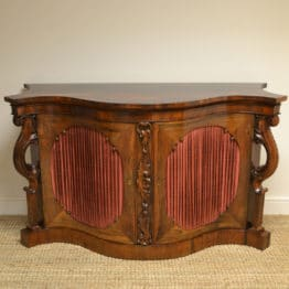 Spectacular Figured Rosewood Serpentine Victorian Antique Credenza