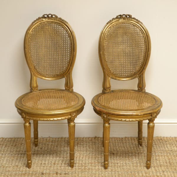 Unusual Decorative Pair of Victorian Antique Gilt Side Chairs