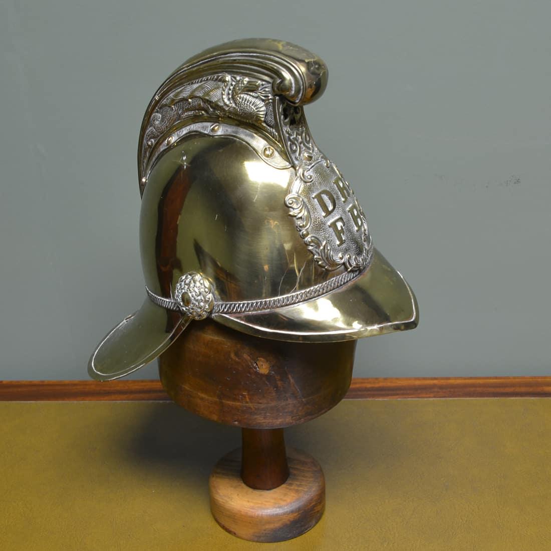 Original 19th Century Brass Decorative Antique Brass Fireman's Helmet