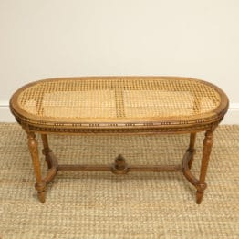 French Walnut Edwardian Caned Long Antique Stool