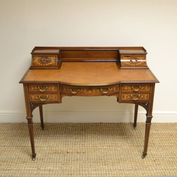 High Quality Victorian Inlaid Antique Carlton House Desk