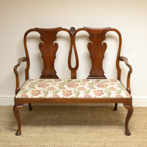 Quality Edwardian Mahogany Antique Double Chair-Back Settee
