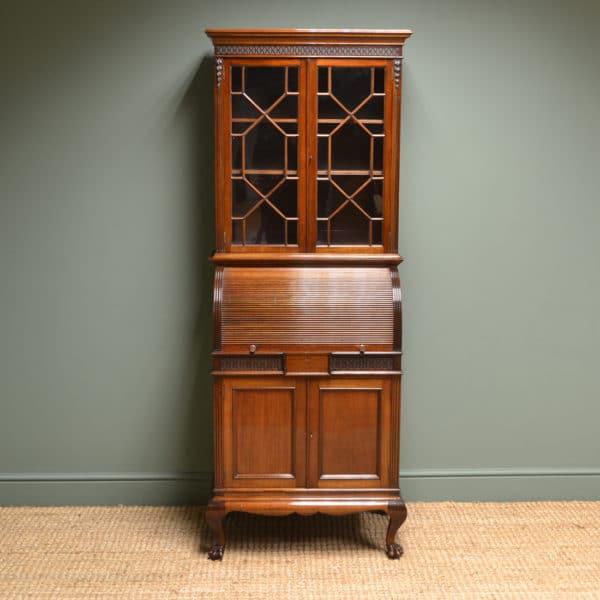 Unusual Edwardian Walnut Antique Cylinder Bookcase