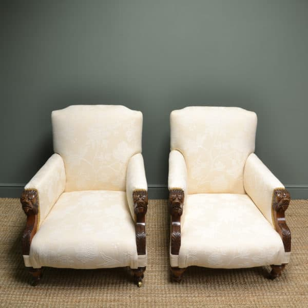 Quality Pair of Upholstered Victorian Antique Arm Chairs
