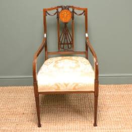 Fine Quality Inlaid Victorian Mahogany Antique Arm Chair