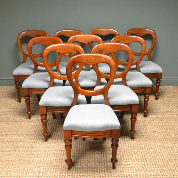 Set Of 10 Victorian Mahogany Antique Balloon Back Chairs