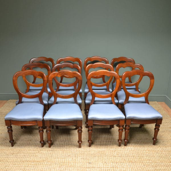 Set Of 12 Victorian Mahogany Antique Balloon Back Chairs