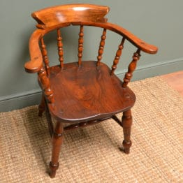 Victorian Figured Elm Smokers Bow Antique Carver Chair