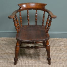 Chunky Victorian Elm Smokers Bow Antique Arm Chair