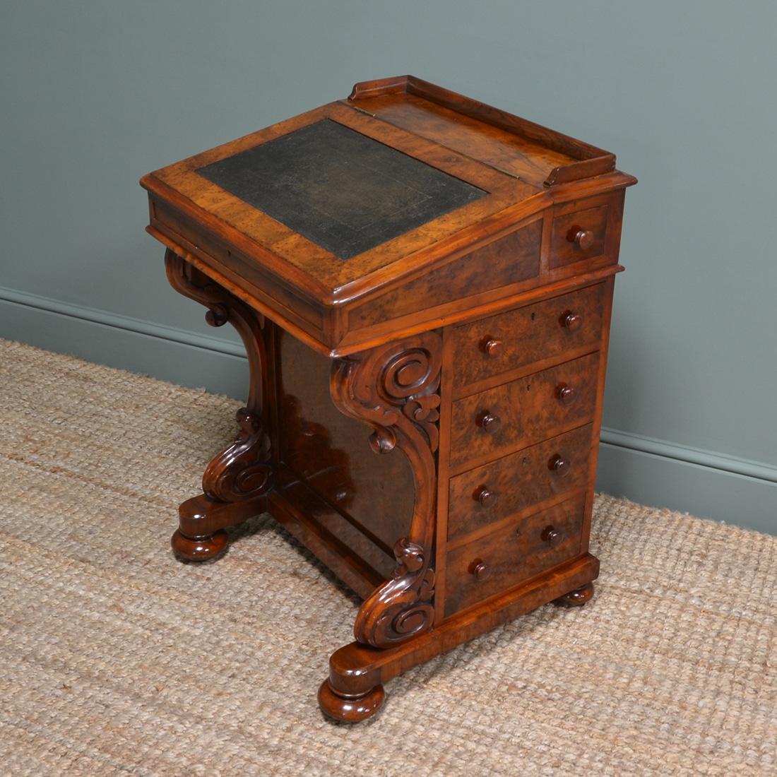 Stunning, Rare Yew Victorian Antique Davenport Desk