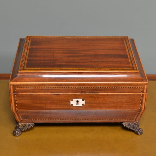 Large Regency Antique Work Box with Fitted Interior