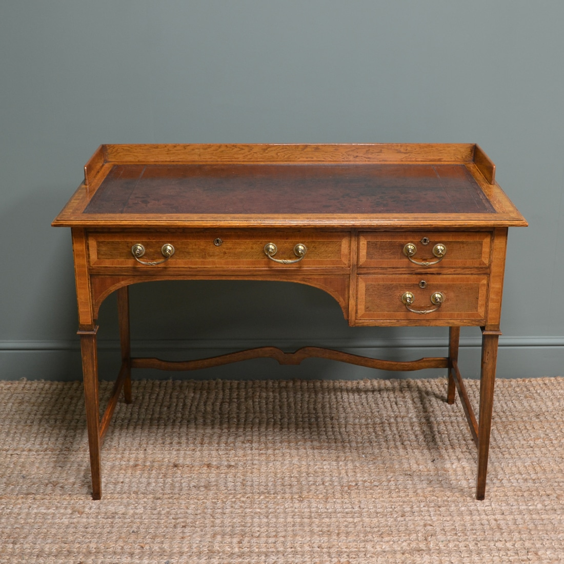 Quality Golden Oak Victorian Shapland & Petter Antique Writing Table