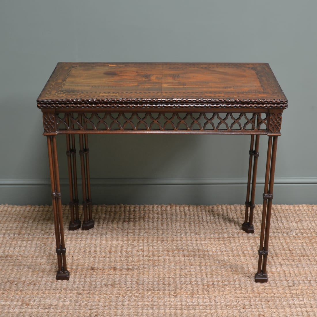 Quality Chinese Chippendale Design Antique Card Table