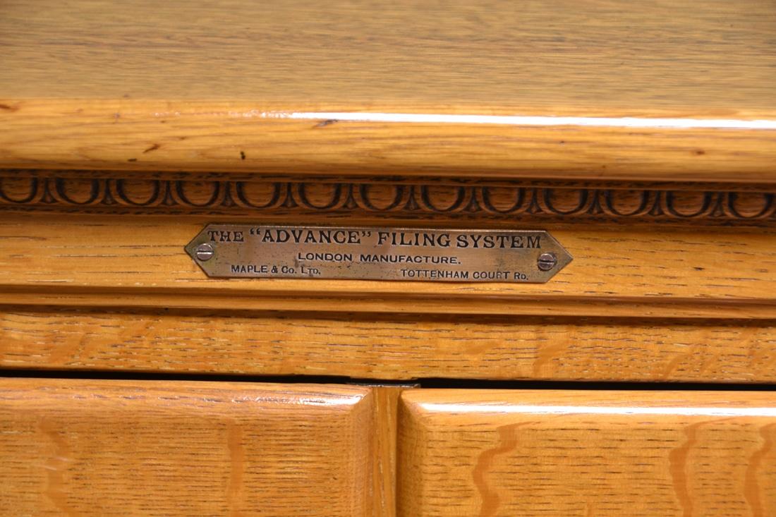 Rare Maple & Co Golden Oak Antique Filing Cabinet