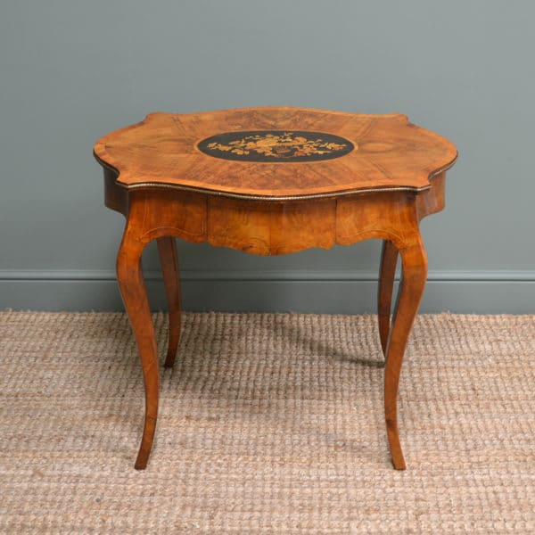 Superb Victorian Figured Walnut Antique Side Writing Table