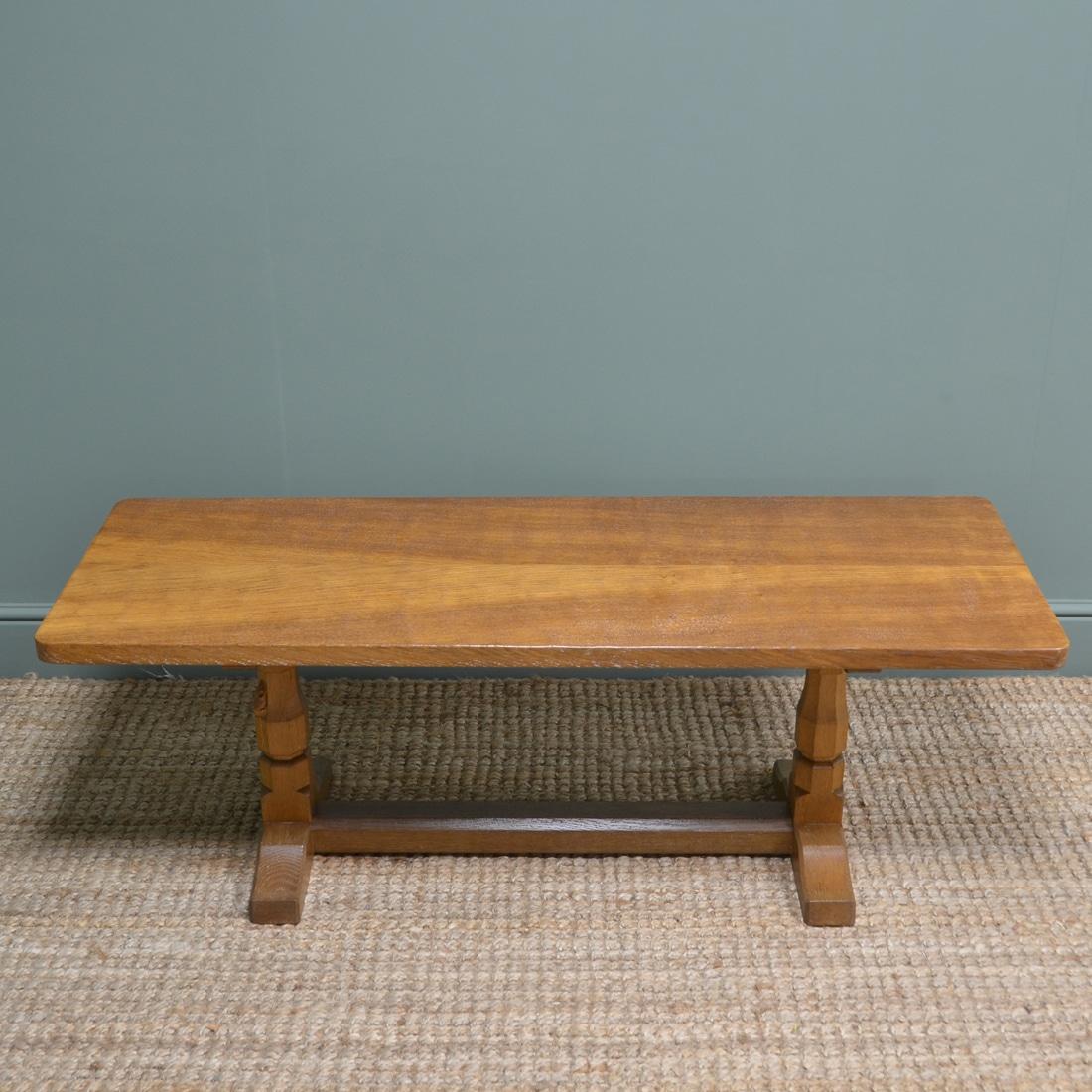 Solid Oak Mouseman Refectory Coffee Table
