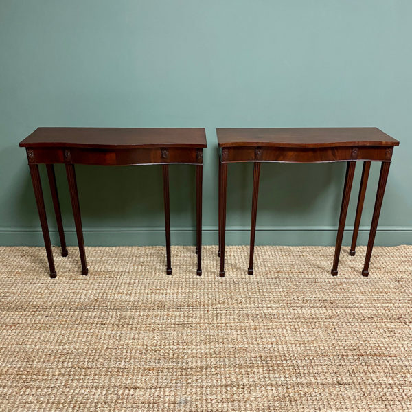 Rare Pair of Mahogany Antique Console Tables