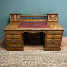 Large Golden Oak Antique Pedestal Desk