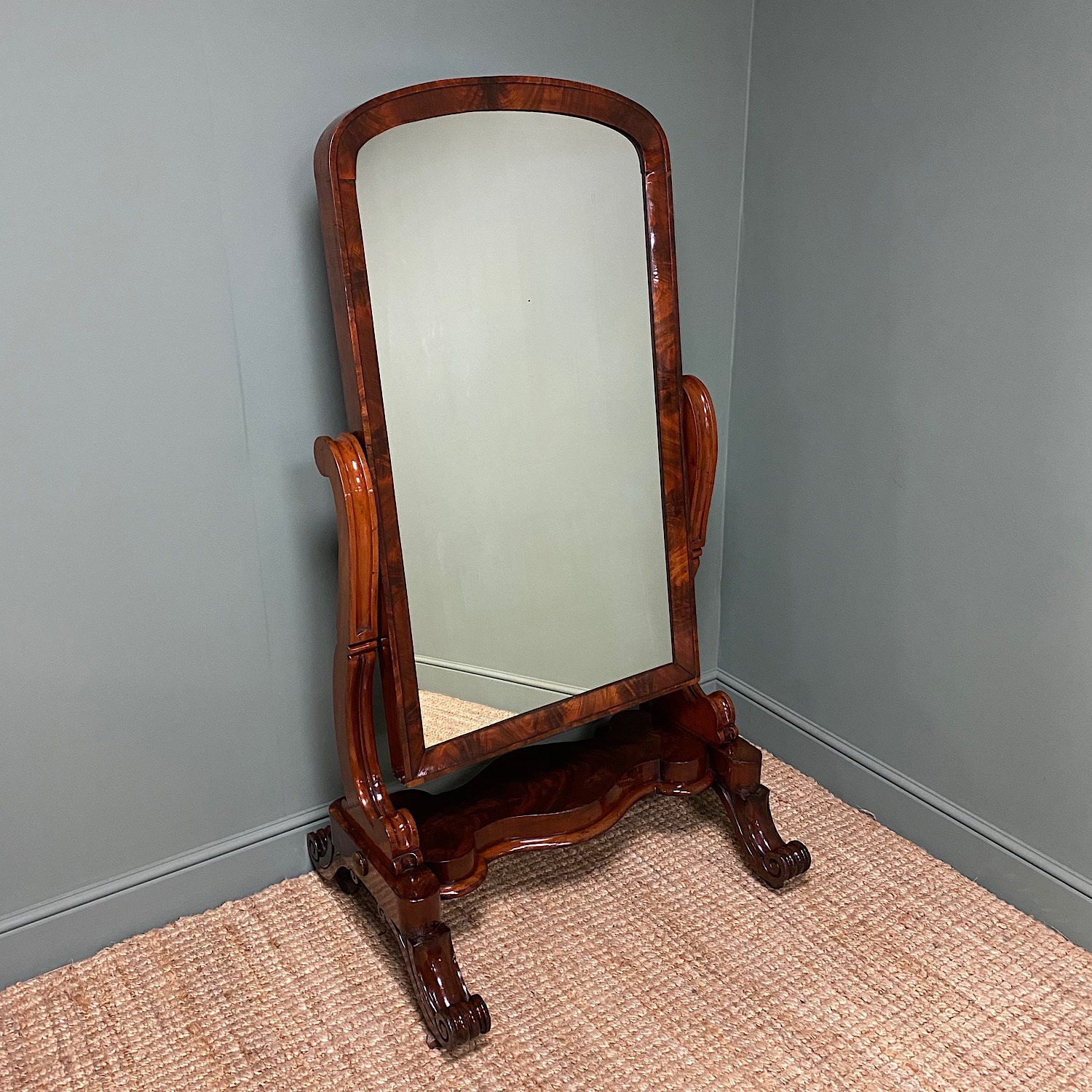 Stunning Victorian Full Length Mahogany Antique Cheval Mirror Antiques World
