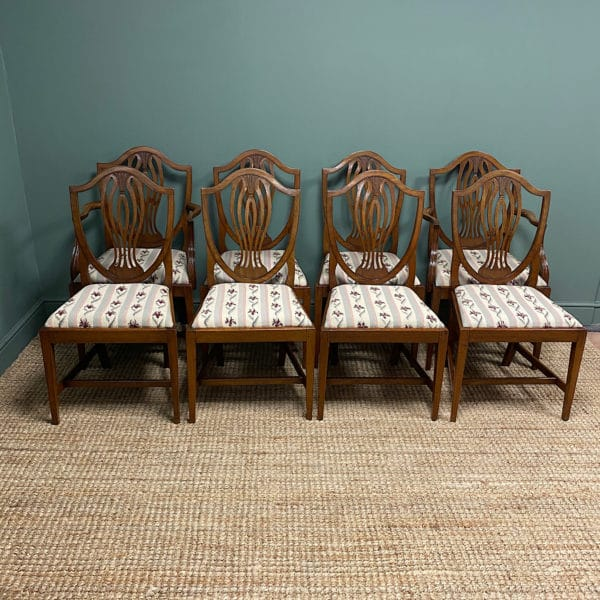 Set of 8 Edwardian Mellow Antique Walnut Dining Chairs
