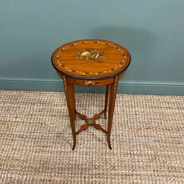 Unusual, Satinwood and Painted Antique Occasional Table