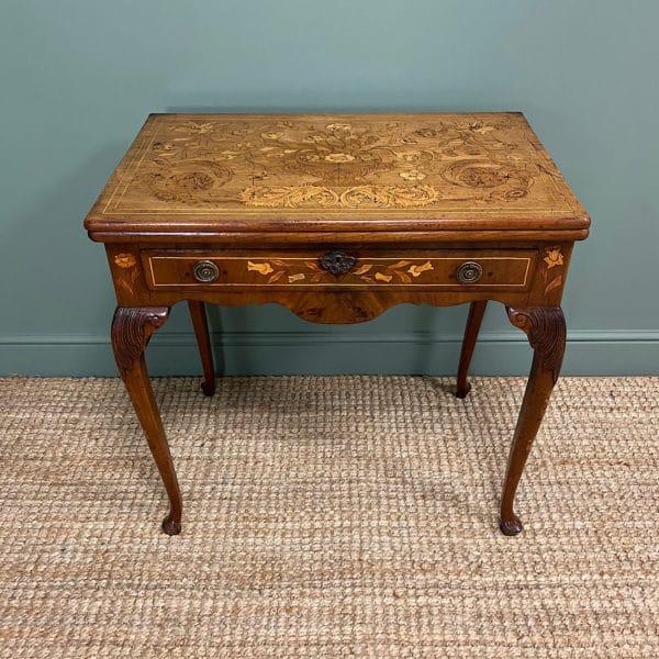 Rare 18th Century Dutch Marquetry inlaid Antique Games Table.