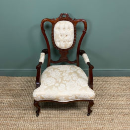 Elegant Victorian Upholstered Antique Arm Chair