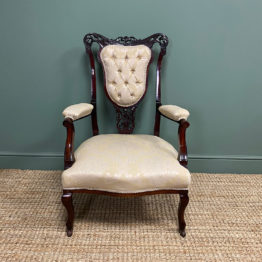 Elegant 19th century Upholstered Antique Arm Chair