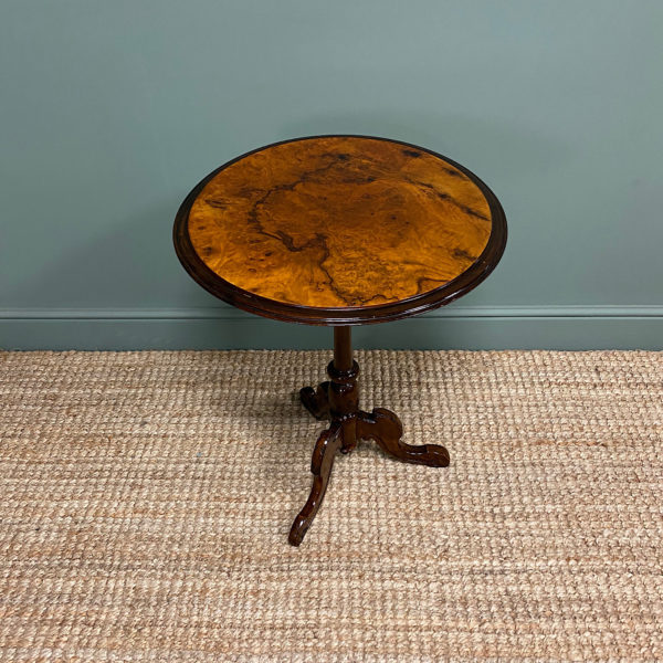 Beautifully Figured Victorian Walnut Antique Occasional Table