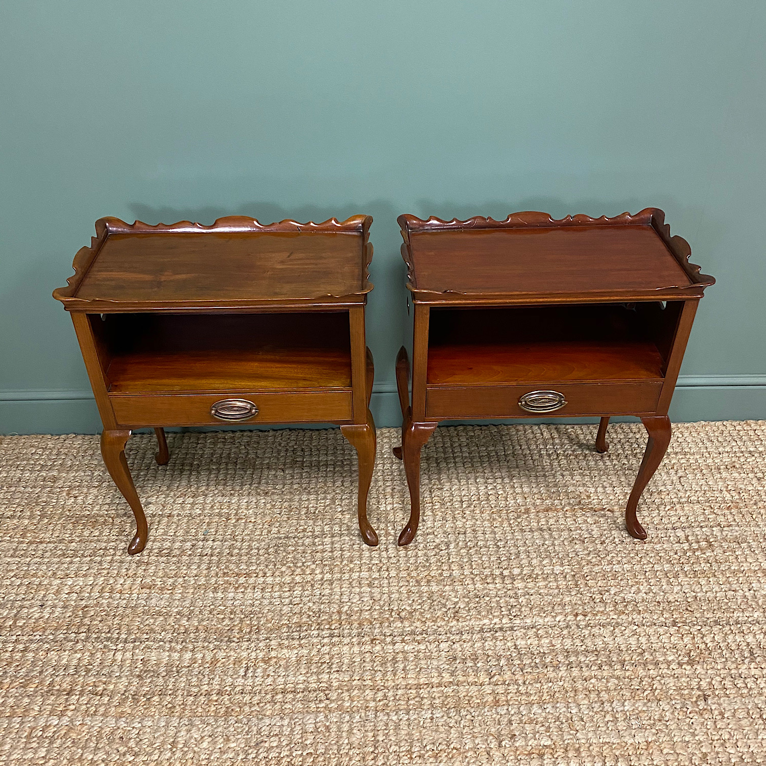 Pair of Edwardian Mahogany Antique Bedside Tables / Cabinets by Morison & Co