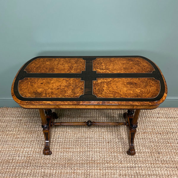 Striking Victorian Golden Burr Walnut & Ebonized Antique Centre Table