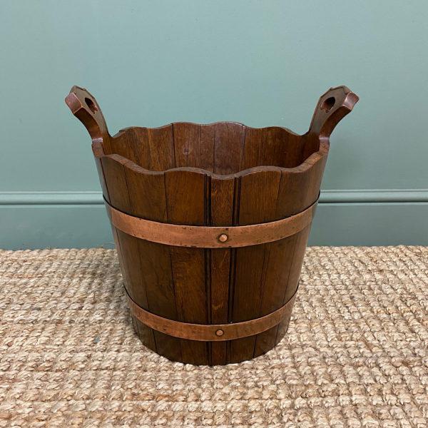 Spectacular 19th Century Victorian Oak Antique Log Bucket