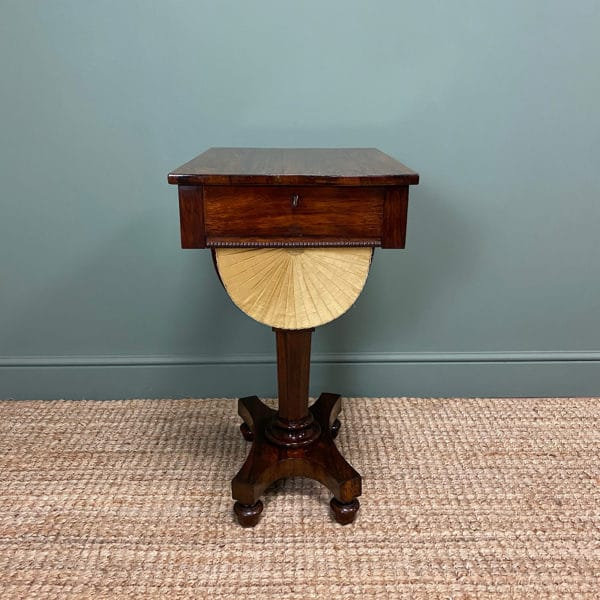 Stunning William IV Rosewood Antique Workbox / Sewing Table