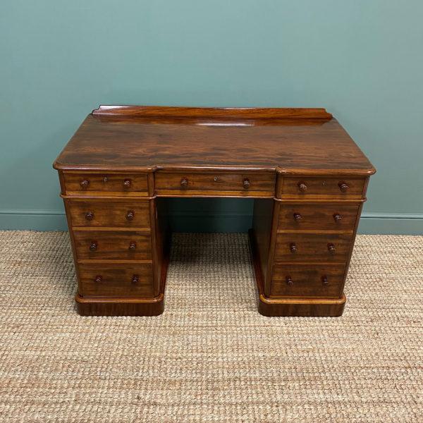 Spectacular Victorian Heals Mahogany Antique Pedestal Desk