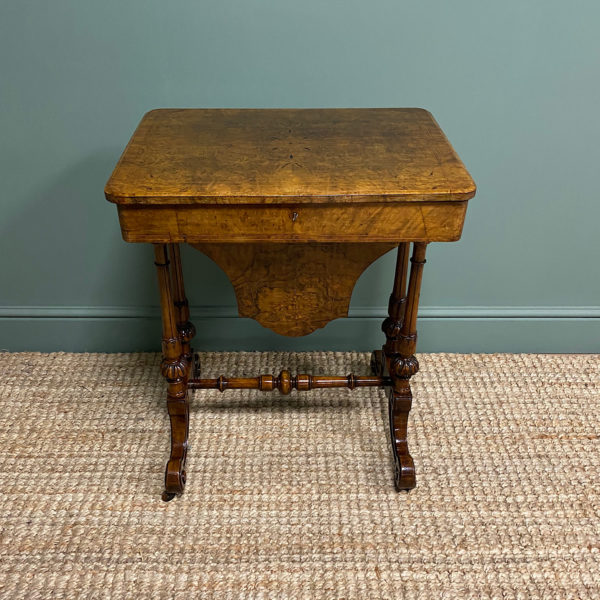 Spectacular Figured Walnut Inlaid Victorian Antique Work Box / Side Table