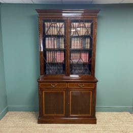Exceptional Inlaid Victorian Antique Glazed Bookcase by Edwards and Roberts
