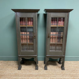 Stunning Pair of Liberty Design Painted Antique Bookcase Cabinets