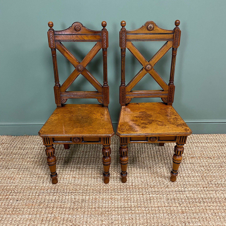 Pair of Victorian Pollard Oak Antique Hall Chairs